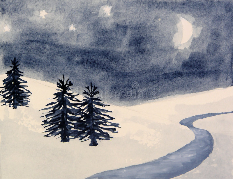 Winter pine tree snow landscape. Watercolor painting of a snowy landscape royalty free illustration