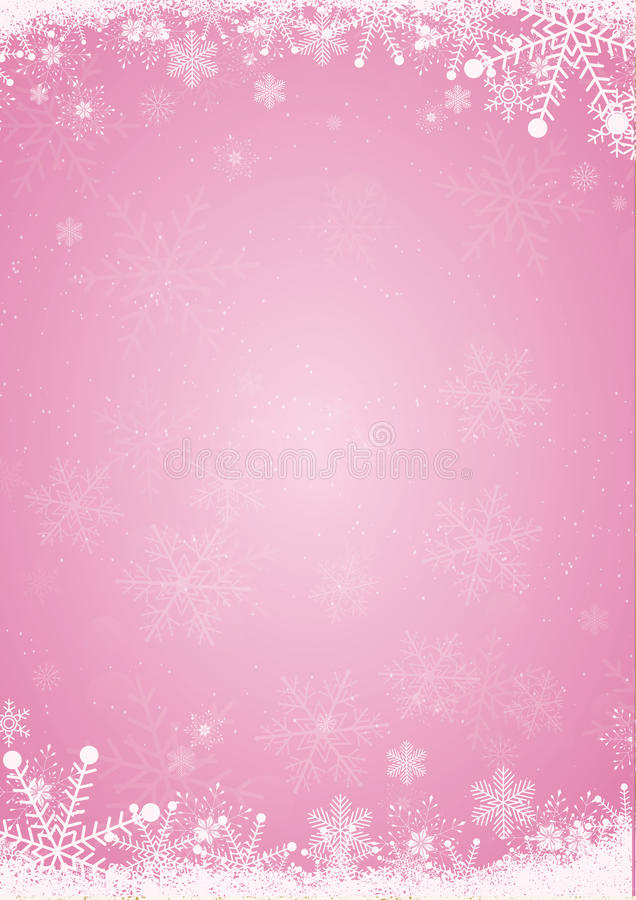 winter pink christmas background with snowflake border