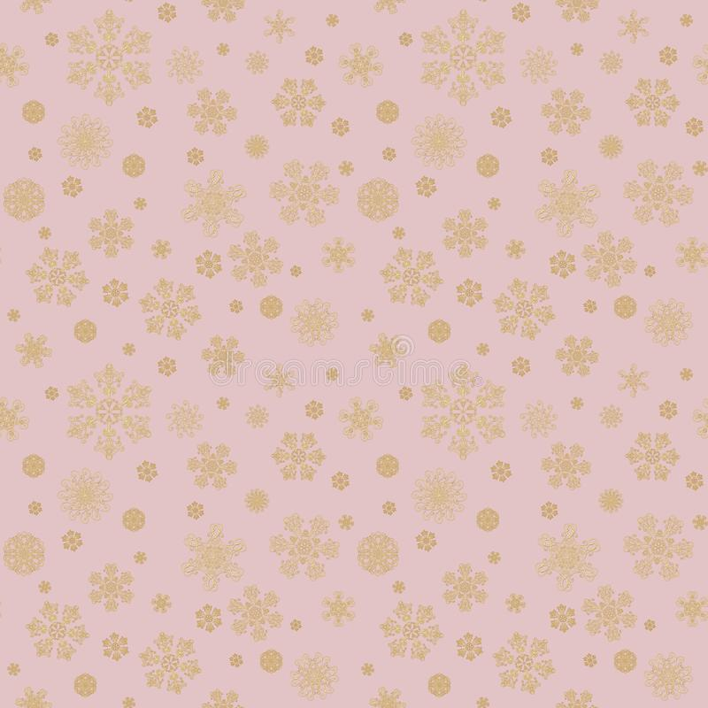 Winter pink hand drawn seamless pattern print with gold beauty snowflakes. Luxury background with golden snow crystals. Happy New stock illustration