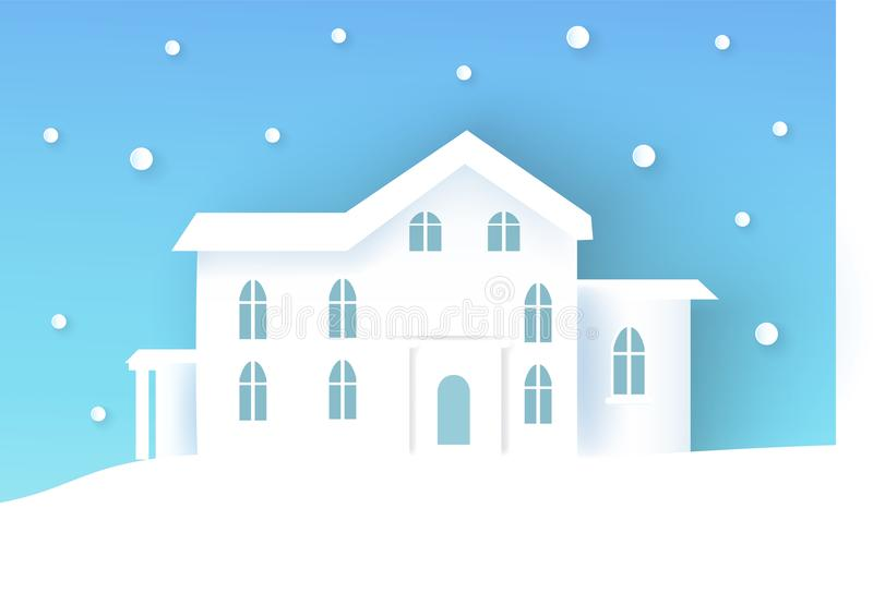 Winter-Plakat mit Haus, Vektor-Illustration stock abbildung