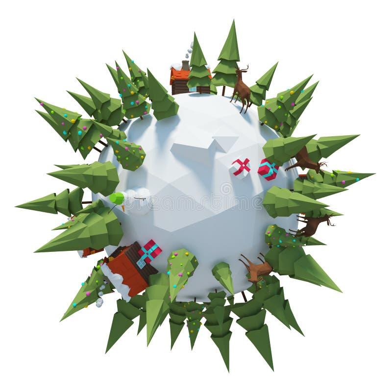 Winter-Planet 3D lizenzfreie stockbilder