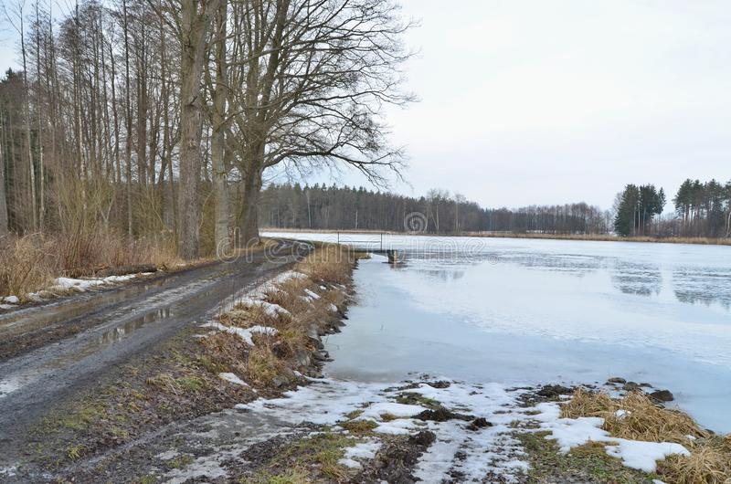 Winter ponds in the countryside of South Bohemia stock photo