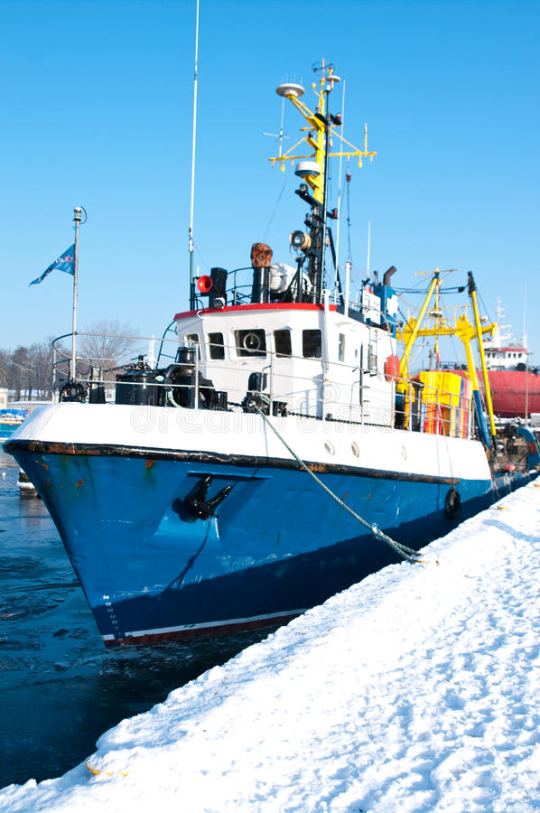 Download Winter port stock image. Image of industry, harbor, boat - 12573183