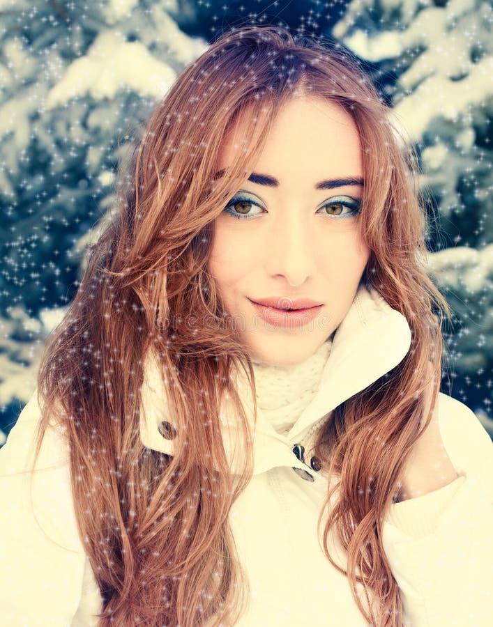 Winter portrait of beautiful blonde royalty free stock image