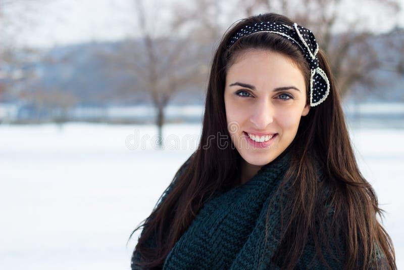 Winter portrait of beautiful girl royalty free stock photo