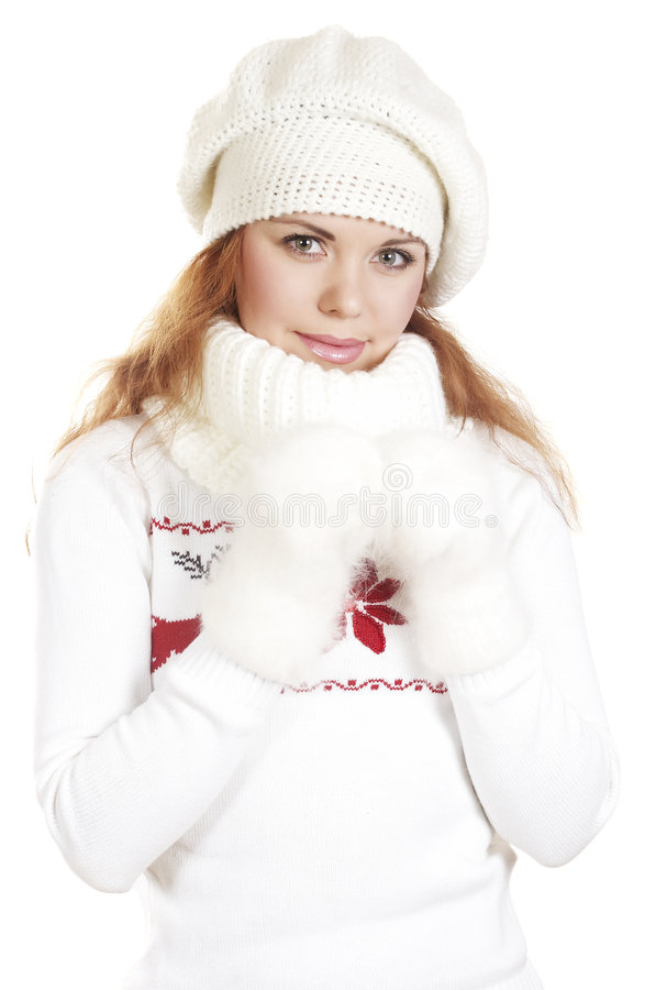 Winter portrait the beautiful girl. The beautiful young woman in a white winter sweater stock photography
