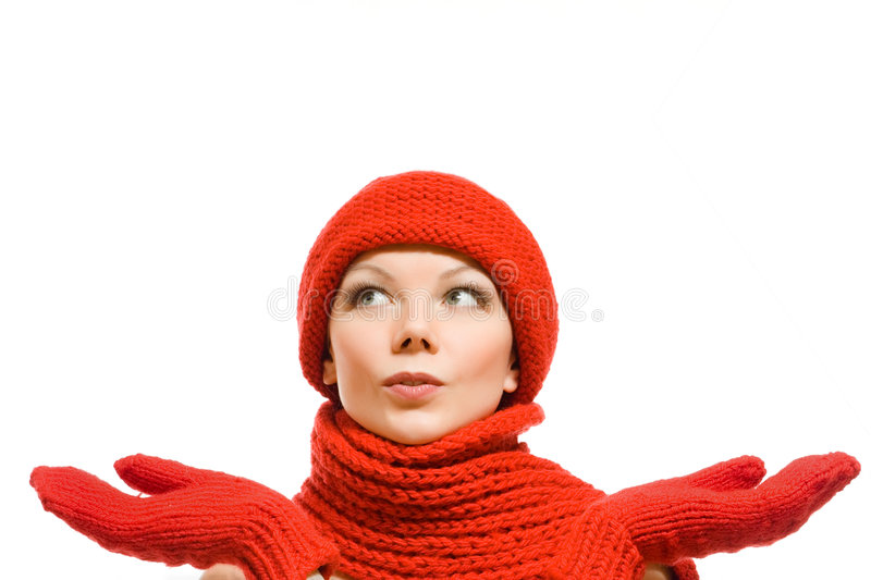 Winter Portrait Of A Beautiful Woman In Red Hat Stock Photo