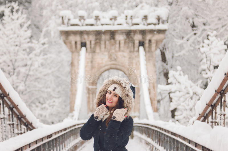 Download Winter Portrait Of A Beautiful Woman In The Snowfall Stock Photo - Image: 83709434