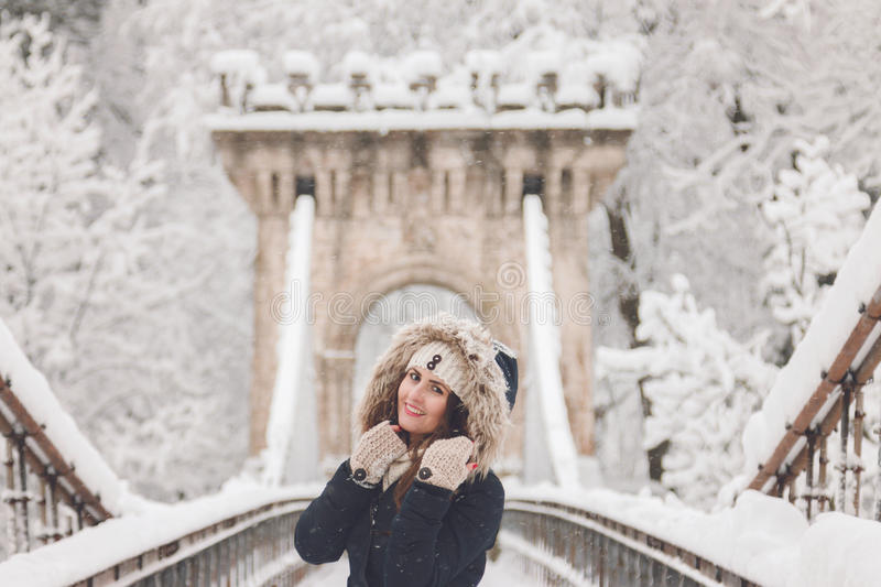 Download Winter Portrait Of A Beautiful Woman In The Snowfall Stock Image - Image: 83710305