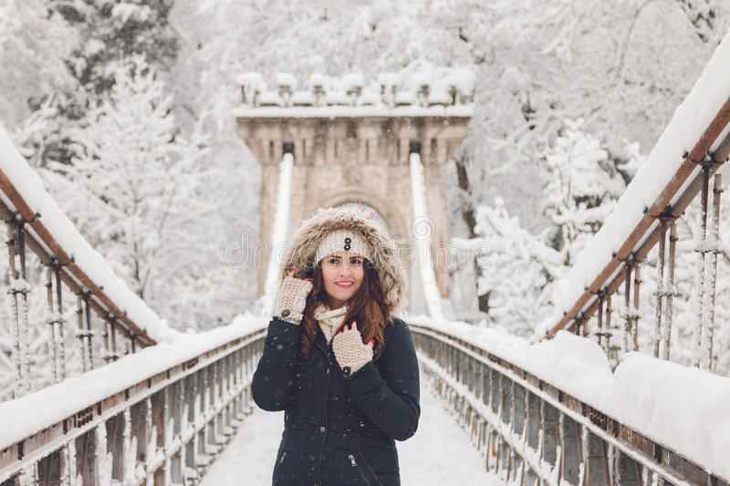 Download Winter Portrait Of A Beautiful Woman In The Snowfall Stock Image - Image: 83710365