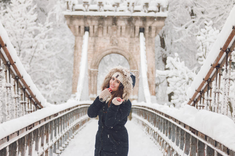 Download Winter Portrait Of A Beautiful Woman In The Snowfall Stock Photo - Image: 83710696