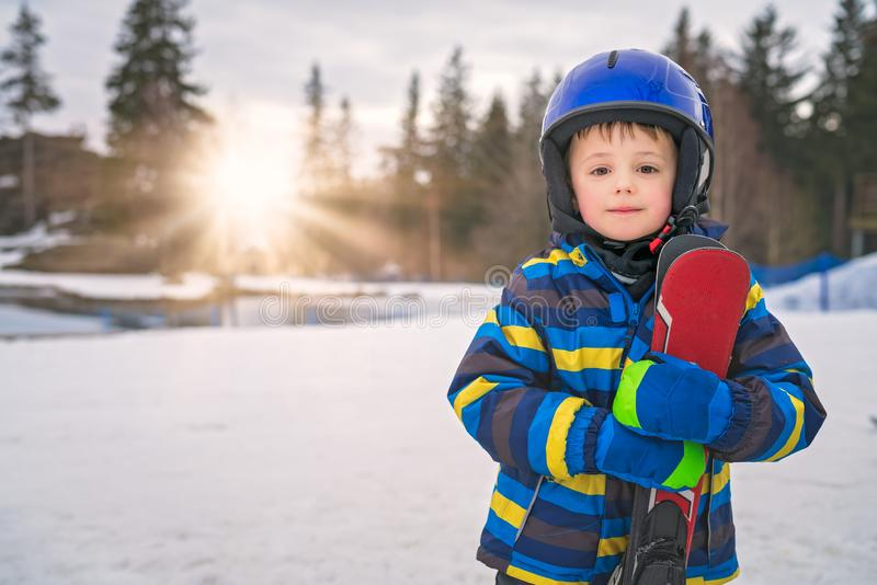 Young skier boy winter portrait royalty free stock photos
