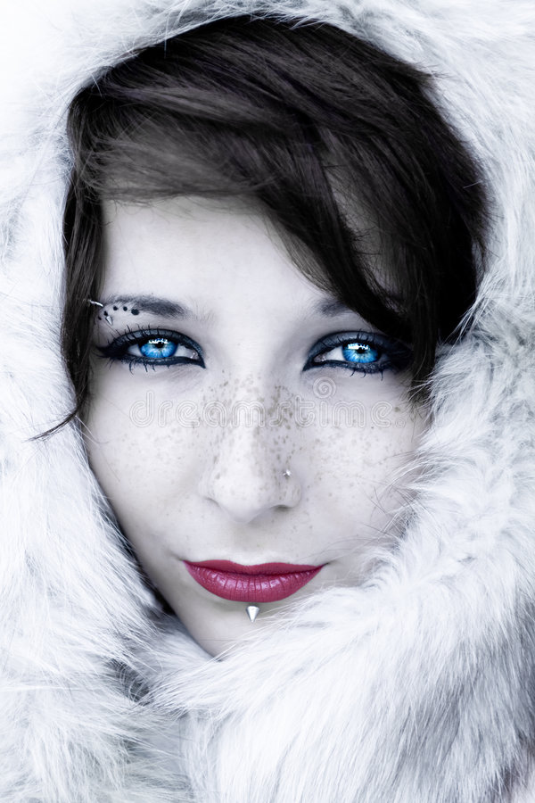 Winter portrait with fur stock photography