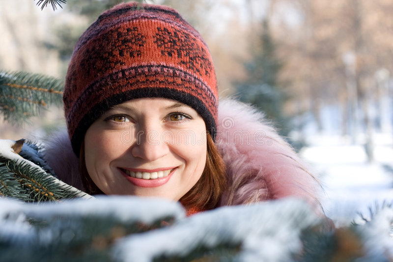 Winter portrait of girl royalty free stock photo
