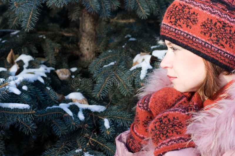 Winter portrait of girl royalty free stock images