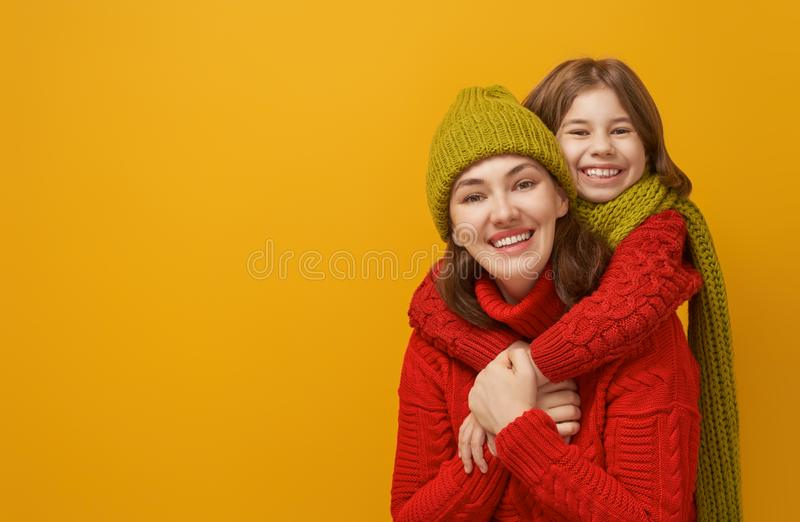 Winter portrait of happy family royalty free stock image
