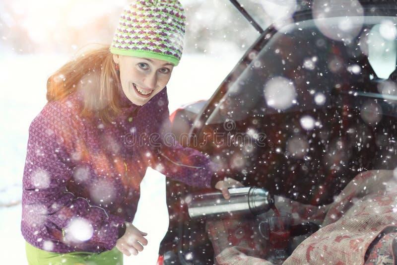 Winter portrait of happy woman stock photography