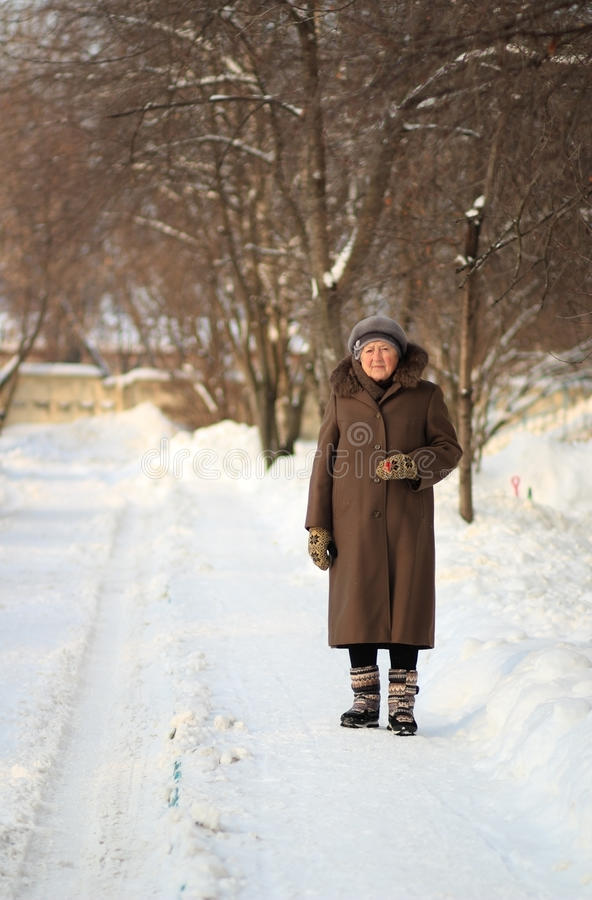 Free Winter Portrait Of The Old Woman Royalty Free Stock Photography - 29913377