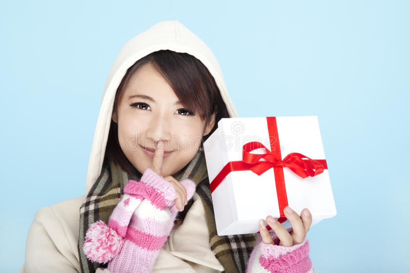 Winter Portrait Of A Smiling Woman Stock Image