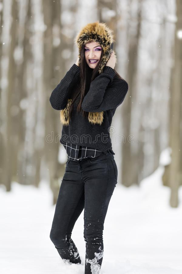 Winter portrait with a woman stock photo