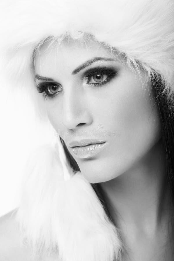 Download Winter Portrait Of Woman In Fur Cap Stock Photo - Image: 23376020