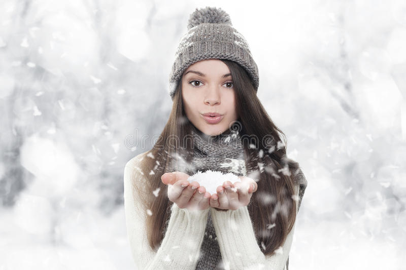 Download Winter Portrait. Young, Beautiful Woman Blowing Snow Stock Image - Image: 27801811