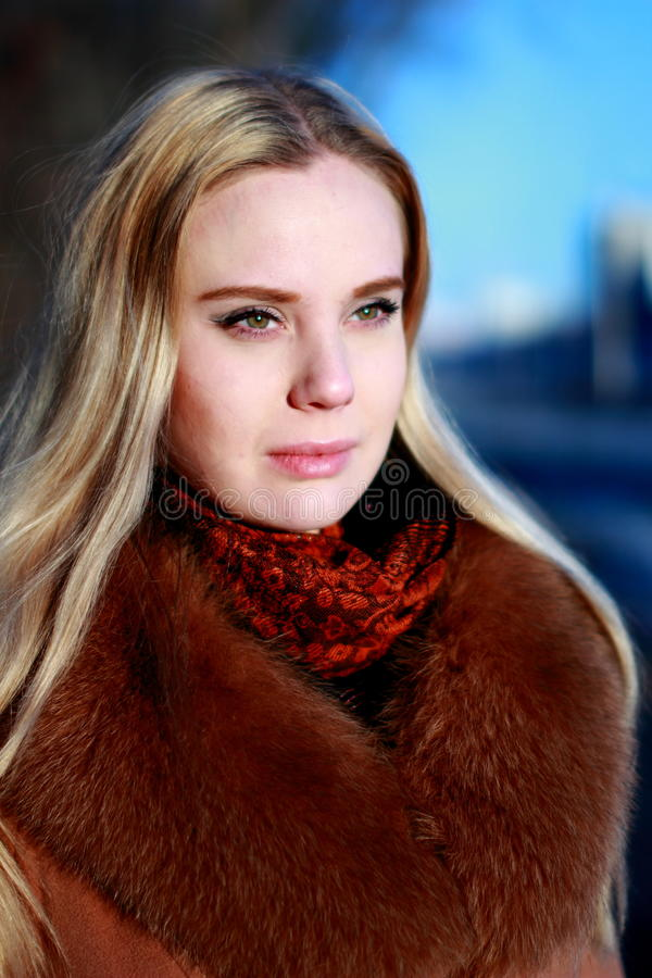 Winter portrait. Young, beautiful woman in winter dress. royalty free stock image