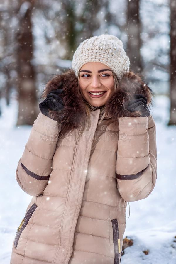Winter portrait of young girl –winter holidays, Christmas and stock photography