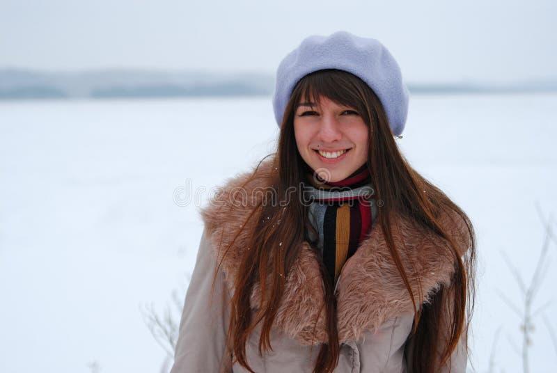 Winter portraits beautiful girl stock photo