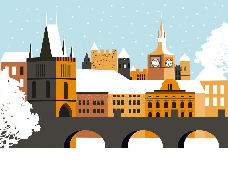 Winter Pragua city. Winter in Pragua city. Vector vector illustration