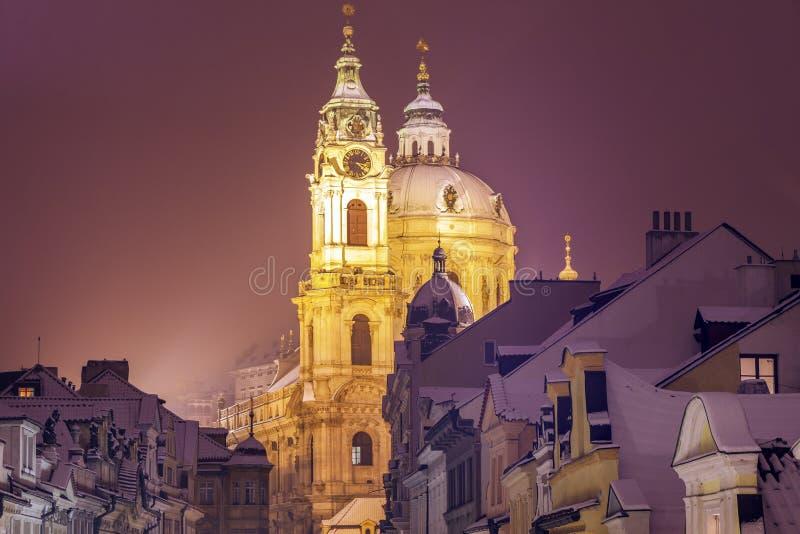 Winter in Prague - city panorama with St. Nicholas Church. Prague, Bohemia, Czech Republic stock photo