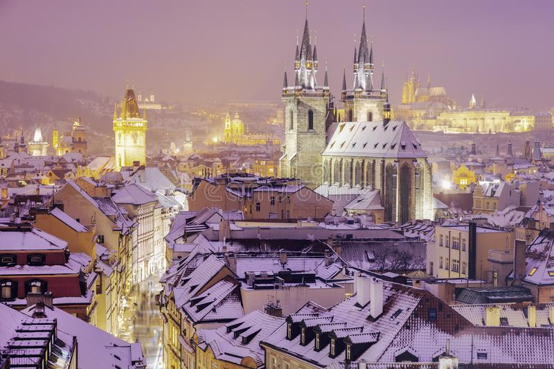 Winter in Prague - city panorama with Tyn Cathedral and Clock To. Wer. Prague, Bohemia, Czech Republic royalty free stock photography