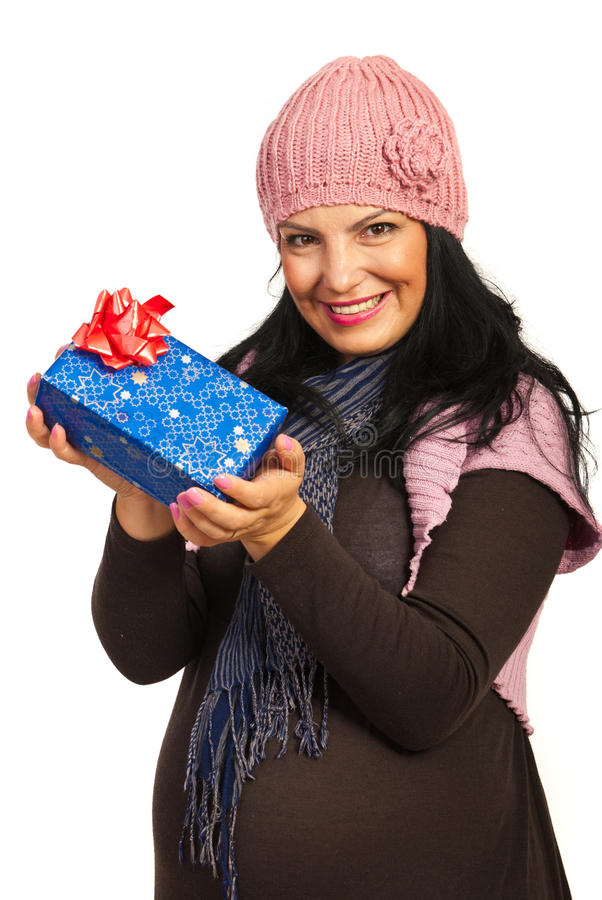 Download Winter Pregnant Holding Presents Stock Image - Image: 27794279