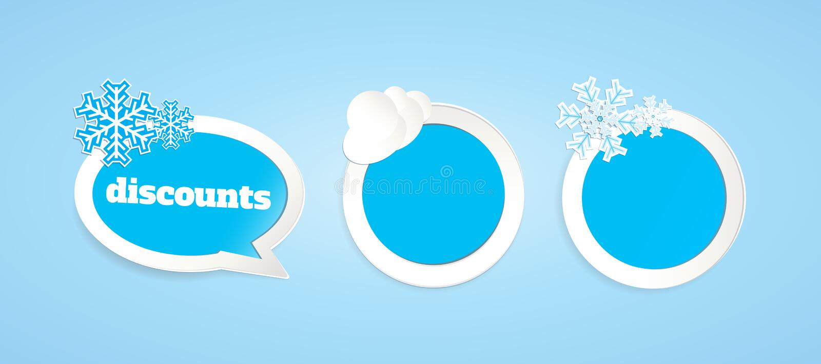 Winter price tags. A set of light blue badges for winter themes royalty free illustration