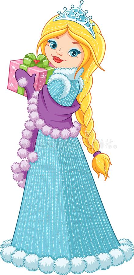 Winter Princess with a Gift. On a White Background vector illustration