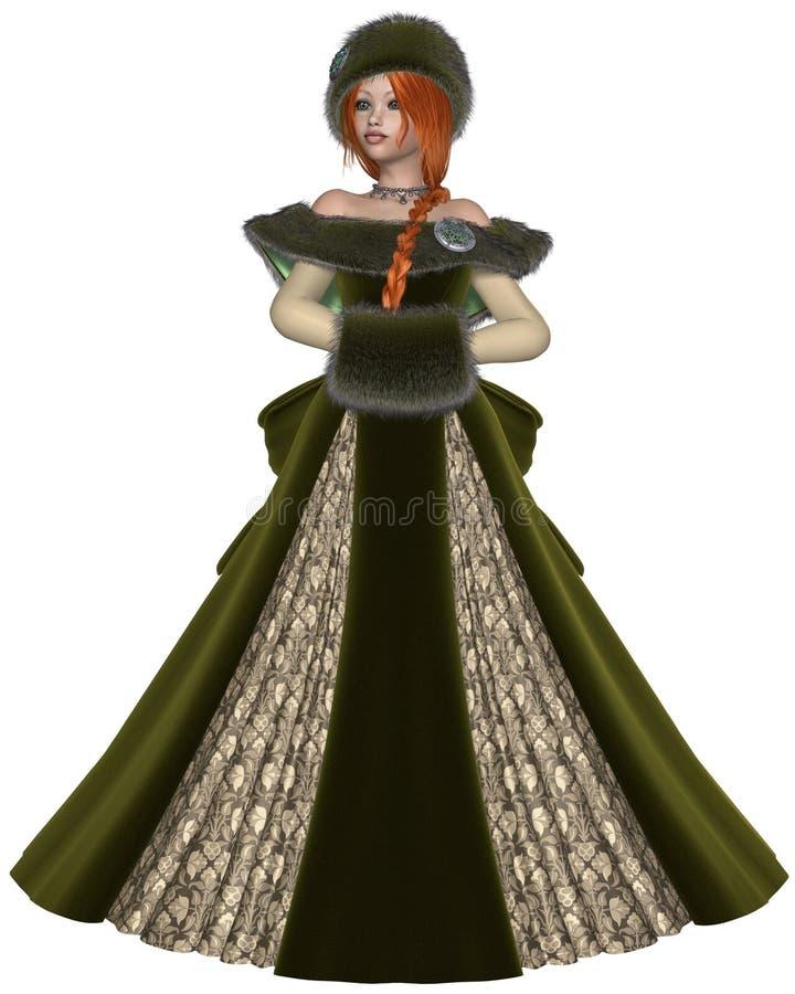 Download Winter Princess in Green stock illustration. Illustration of fantasy - 35834357