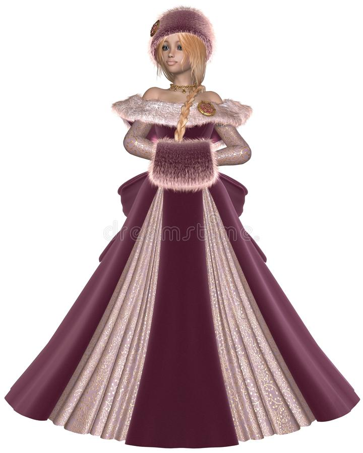 Download Winter Princess in Pink stock illustration. Illustration of hair - 35799047