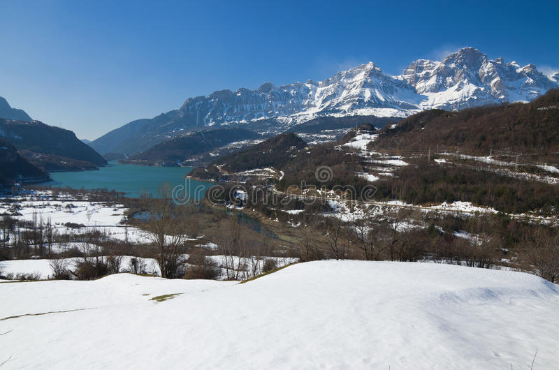 Winter Pyrenees in the Valle de Tena, Aragon stock images