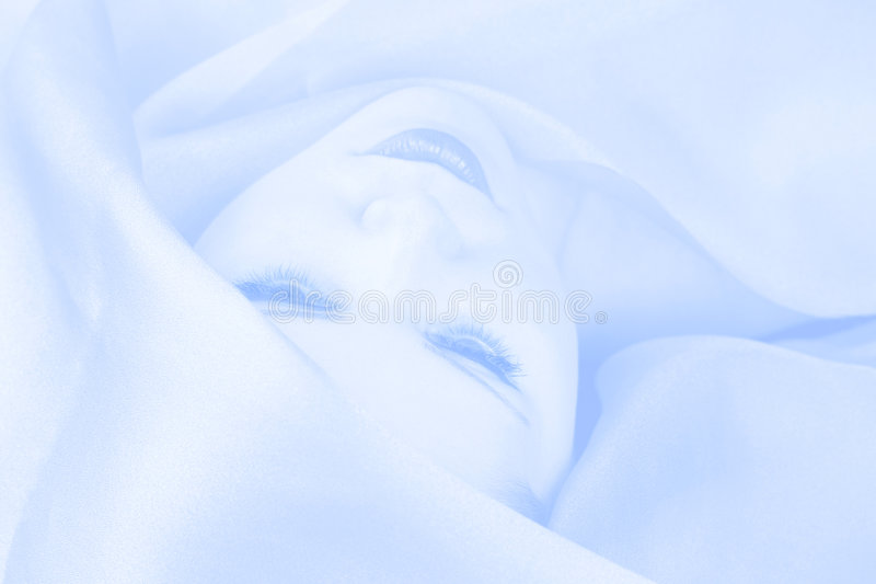 Winter queen. (blue tone lady portrait royalty free stock photography