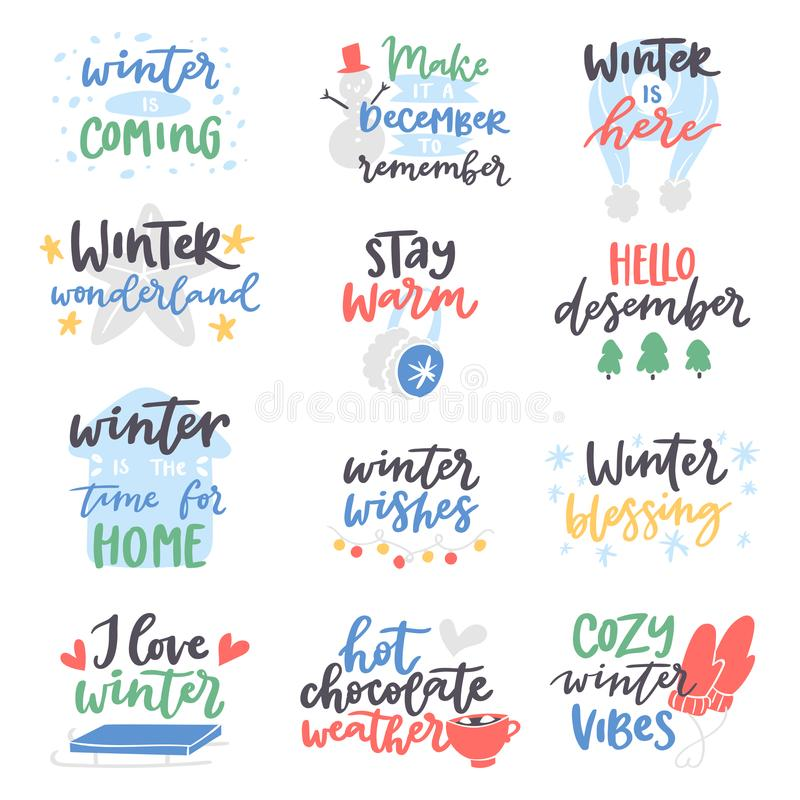 Download Winter Quote Vector Card Text Design Logo Lettering Typography  Saying Hello Christmas Poster Holiday Quotation