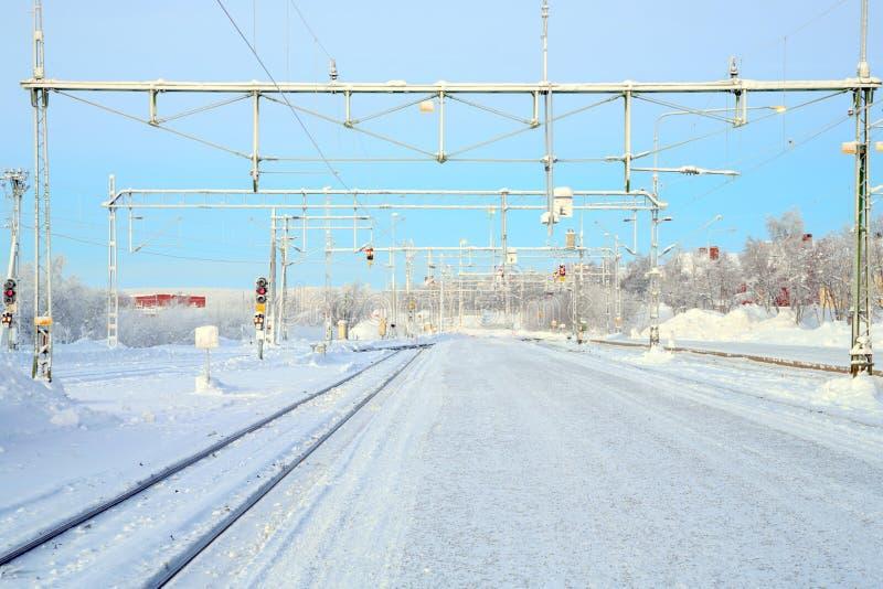 Winter Railroad platform. In Kiruna Lapland train station sweden royalty free stock photography