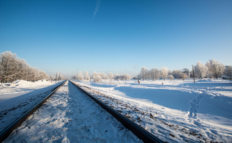 Winter railroad, trees in snow landscape royalty free stock photos