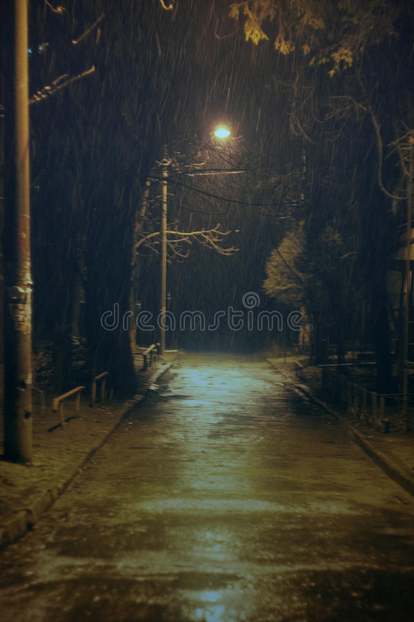Winter rain. Picture of a small courtyard in Chisinau royalty free stock photo