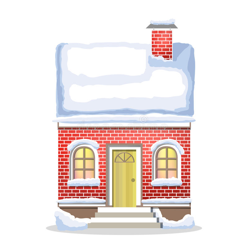 Winter red house. Country cozy house, covered in snow. Winter red brick house. Country cozy house, covered in snow on a white background vector illustration