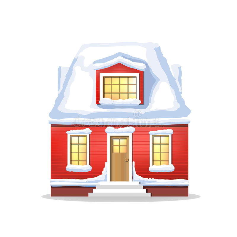 Winter red house. Country cozy house, covered in snow. On a white background vector illustration