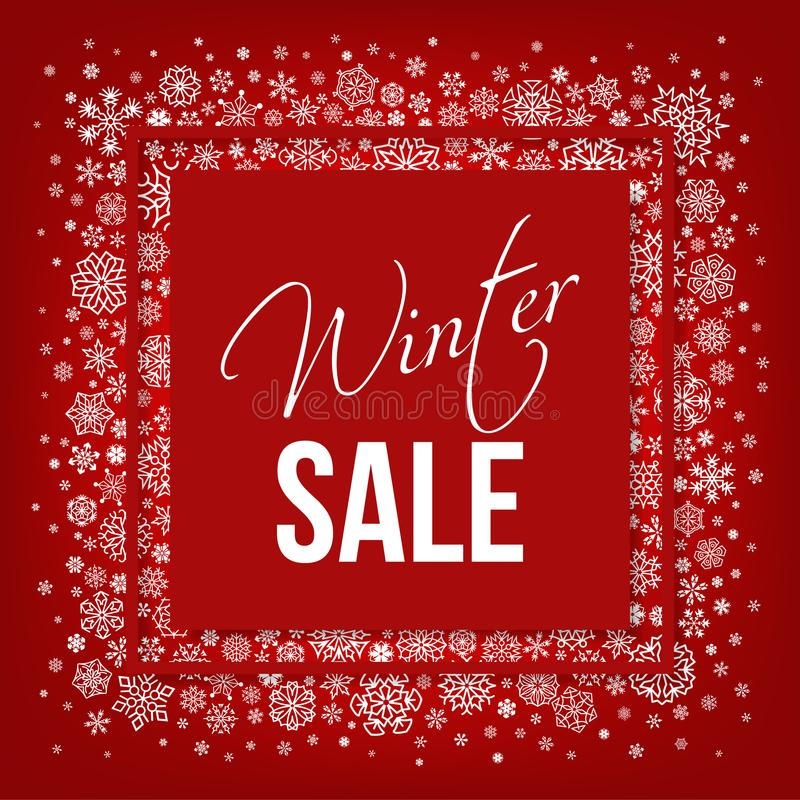 Winter red sale typographic with white snowflakes royalty free illustration