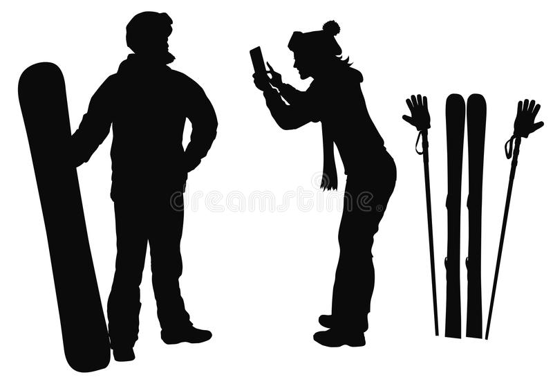 Winter resort designs. Skier and snowboarder couple posing for pictures. Vector silhouettes. EPS 10 stock illustration