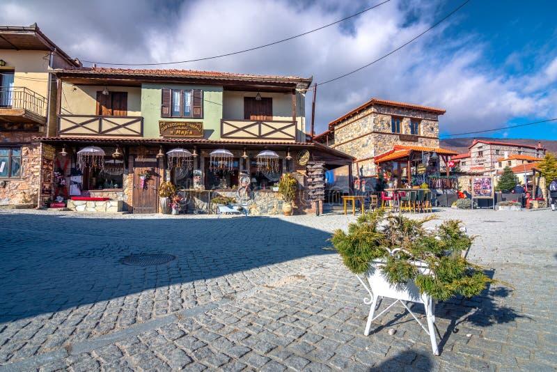 Winter resort of Palaios Agios Athanasios village, near Edessa, Greece. royalty free stock photo