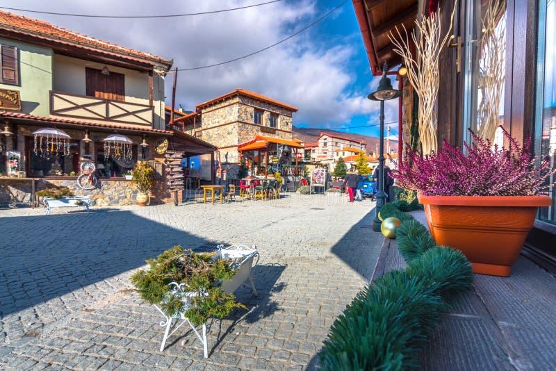 Winter resort of Palaios Agios Athanasios village, near Edessa, Greece. royalty free stock images