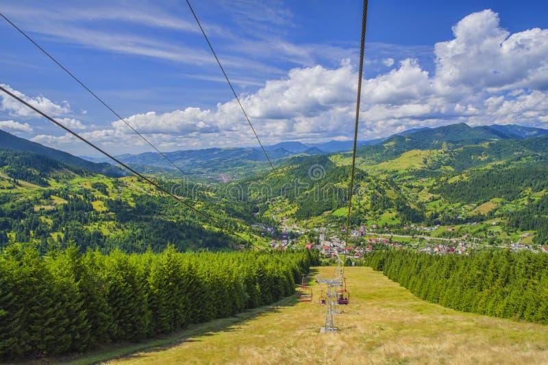 Winter resort in summer landscape green mountain scene royalty free stock images
